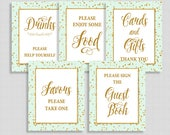 Mint & Gold Shower Table Signs Package, Mint and Gold Glitter Confetti Sign Bundle, 5 Sign Bundle, INSTANT DOWNLOAD