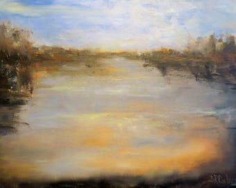 Landscape impressionism lake water  print on canvas of original oil painting GIclee