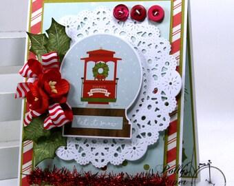 Snowglobe Christmas Greeting Card Polly's Paper Studio Handmade