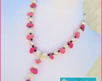 Chunky Hot Pink and White Necklace, Pink Jewelry, Gemstone Necklace, Fuchsia Gemstone Jewelry, Pearl Necklace, Matching Earrings Available