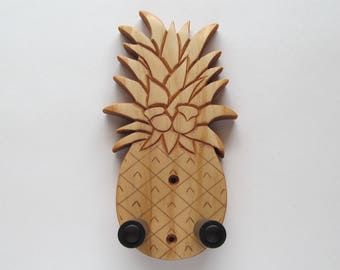 Deluxe pineapple ukulele wall mount hanger, hand carved holder