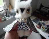 Reserved for Katy. Please, do not buy if you are not this customer .Focus Malgranda owl , soft art  creature  by  Wassupbrothers, buho, boho