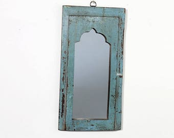 Moroccan Mirror Vintage Wood Frame Reclaimed Wall Art Distressed Turquoise Blue and Dark Brown Wall Mirror