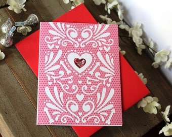 Handmade Valentine's Day Card, Pink and Red Hearts, Cutouts, Unique, One of a Kind, Free US Shipping