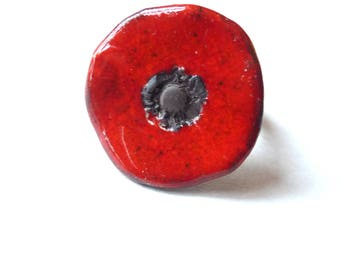 Bague Coquelicot céramique fleur rouge ceramic poppy red ring