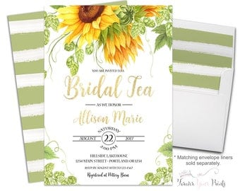 Floral Bridal Tea Invitation - Sunflower Bridal Shower Invite - Sunflower Wedding Shower - Rustic Bridal Invite - Sunflower Invitation