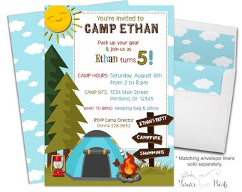 Camping Party Invitation - Camping Birthday Invitation - Camping Invitation - Camping Invite - Boys Birthday Invitation - Boys Camping Party