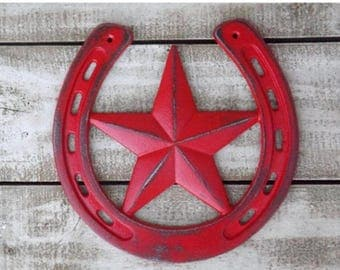 Lucky Horseshoe~Horseshoe and Star Wall Plaque~Horseshoe Sign~Western Wall Decor~Red Lucky Horseshoe