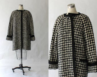 Gianni Versace Couture Vintage Coat // 1980s Designer Houndstooth Check Wool Coat with Quilted Lining // Medium - Large
