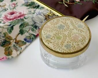 Bedroom Vanity Powder Box, Cosmetic Jar or Jewelry Holder. Dressing Table Accessory. Vintage Boudoir Storage. Bathroom Decor.