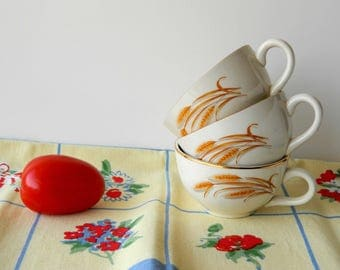 Golden Wheat Tea Cup Collection. Farmhouse Kitchen China.