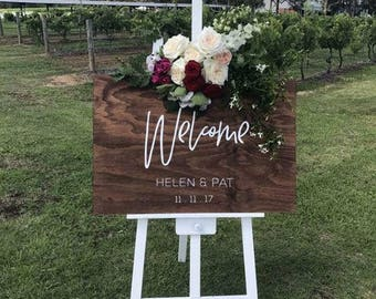 Modern Welcome Wedding Sign, Handpainted Wooden Signage, Special Event Sign