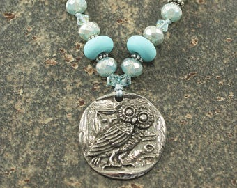 Owl Necklace One of a Kind Silver Turquoise Owl Jewelry Unique Bohemian Knotted Necklace