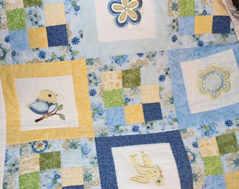 Baby Quilt Adorable Birds and Flowers Baby Quilt Last Minute Gift Cotton Blue Yellow