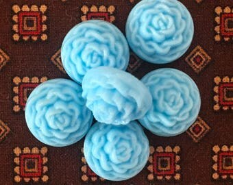 """BWB  Very Sweet Vintage Turquoise glass """"braided"""" cabs 13mm  6 pcs"""