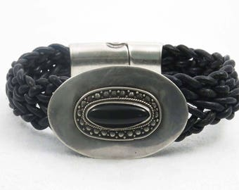 Antique Sterling Silver Pin with Black Stone on a Black Leather Braided Bracelet