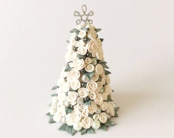 Dollhouse Christmas tree with white roses and baubles for half scale dollhouse handmade from polymer clay