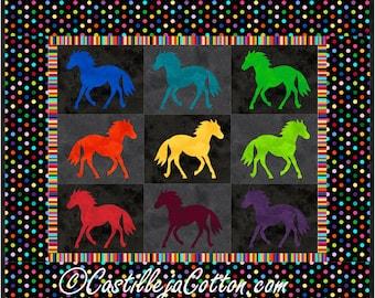Painted Ponies Quilt ePattern, 4246-11e, horse quilt pattern, horse wall quilt, horse wall hanging