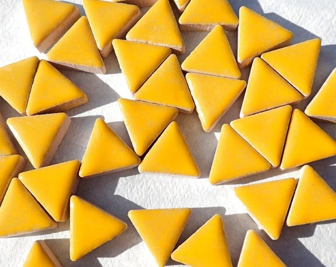Lemon Yellow Mini Triangles Mosaic Tiles - 50g Ceramic - 15mm in Sunny Yellow