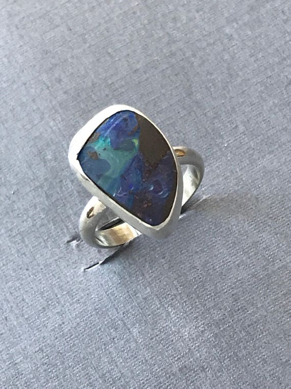 Sweet little Australian boulder opal ring