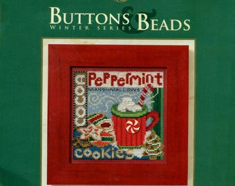 Mill Hill SANTA'S TREATS Kit Buttons & Beads Winter Series MH14-2306 Kit Peppermint Candy Ceramic Button Christmas Counted Cross Stitch
