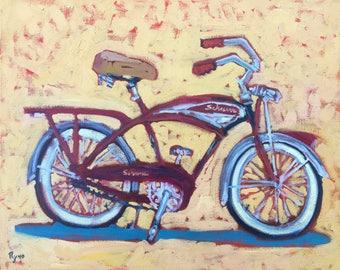 Classic Bike -Painting, Original Oil, Original Oil Painting,  Schwinn, bicycle, Old Bike, Retro Bike