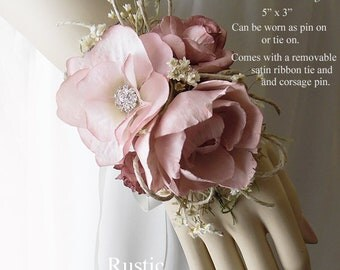 Dusty Rose ~ Peony Sola Flower Adult Size Wedding Corsage. Can be worn as a wrist corsage or pin on.