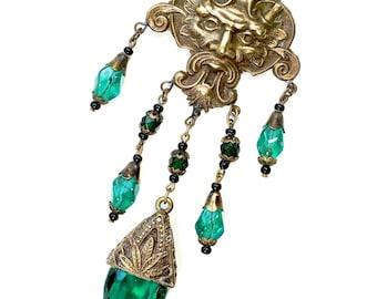 Czech Glass Necklace Pendant Bohemian Gothic Green Man Jewelry EXTRAORDINARY