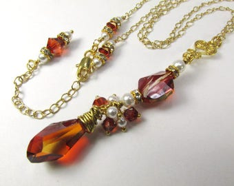 Swarovski Red Magma Crystal and White Pearl Long Necklace on 14k Gold Fill