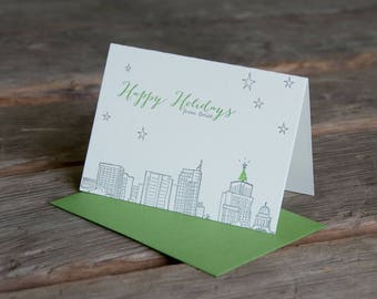 6 Boise Holiday skyline, letterpress printed eco-friendly