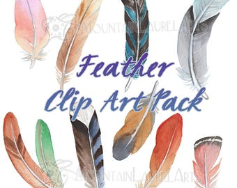 Watercolors Feather Clipart - Boho Digital Collage - Feathers Digital Download - Watercolor Feathers Illustration - Hippie Clipart Feathers