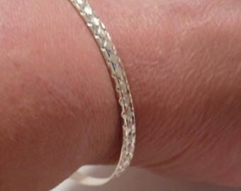 """Vintage bracelet, signed """"TOB 925"""" glittery sterling silver 8 inch bangle bracelet, vintage jewelry"""