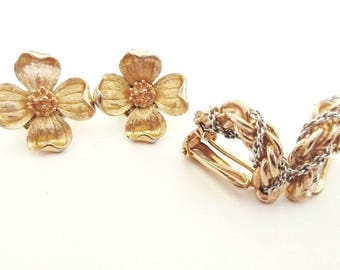 2 Vintage Clip On Earrings, Trifari Dogwood Blossoms and Napier Gold & Silver Twisted Chain