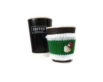 Knit Coffee Cozy, Christmas Cozy, Coffee Sleeve, Christmas Gifts