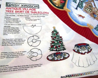 DAiSY KiNGDOM ANTiQUE ViLLAGE TREE SKiRT OR TABLECLOTH Easy Cut and Sew Cotton Fabric Panel