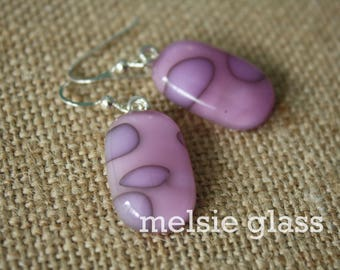 Light Raspberry pink glass dangle earrings - pink glass earrings