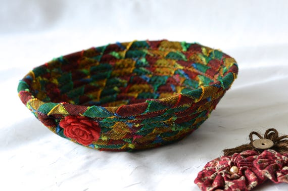Fall Desk Accessory Basket, Handmade Ring Tray Ring Bowl, Jewelry Catcher, Autumn Desk Accessory Bowl, Mexican Fiber Bowl