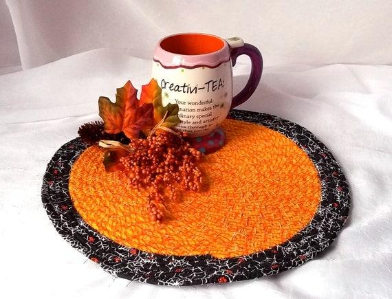 """Kitchen Trivet, Gift for Men, Dad, Halloween Decoration, Handmade Orange Mug Rug, 11""""  Place Mat, Lovely Black and Orange Table Mat, Hot Pad"""