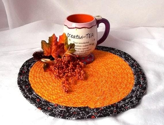 "Fall Kitchen Trivet, Halloween Decoration, Handmade Orange Mug Rug, 11""  Place Mat, Lovely Black and Orange Table Mat, Hot Pad"