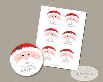 "Santa Printable Gift Tags | 3"" Round Labels or Tags  