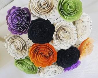 Halloween spiral rose paper flower bouquet centerpiece farmhouse decor wedding bouquet toss