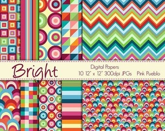 BACK TO SCHOOL Sale Digital Papers Printable Papers Scrapbook Papers - Bright Geometric - Commercial and Personal Use