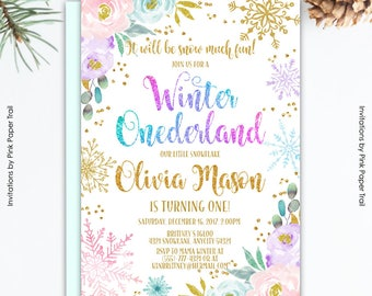 Winter Onederland Birthday Invitation, Pink and Gold Snowflake Baby Blue and Purple Floral Winter Onederland Party Printable Invitation