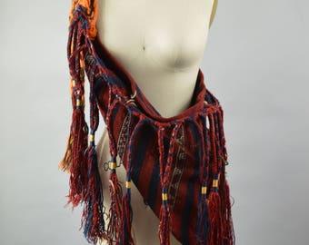 Vintage Ethnic Nomad Tote Bag Antique Turkish Baby Carrier Red and Blue Handwoven Fabric with Long Tassel Fringe  Bebek Torba