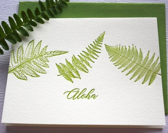 Hawaii Ferns Letterpress Greeting Cards Aloha Mahalo Forest Green