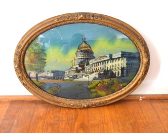 Antique Capitol Building Washington DC Reverse Glass Painting