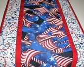 Sale Christmas in July Patriotic Table Runner,  Wall hanging, July 4th, Patriotic, handmade, quilted table runner, Year Round Independence D