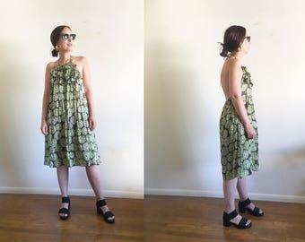 Vintage Silk and Cotton Abstract Dress / High Fashion Boho / Silk Dress / Halter Dress S M L