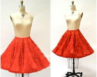 SALE Vintage Red Crinoline Skirt Medium with Red Ruffled Bloomers Medium// Vintage Red Square Dance Petticoat Skirt rockability