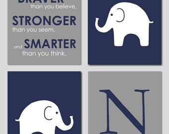 Baby Boy Elephant Nursery Art, Navy and Grey Nursery, You Are Braver Than You Believe, Boy Nursery, Navy Nursery Decor, Boy Nursery Wall Art